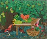 "055 Arias, Mesa de verano, 2010. Oil on canvas. 17.5"" x 21.5"""