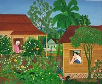 """074 Arias, """"El patio de Bayate,"""" ND. Oil on canvas. 27.5""""x 33"""" #9045"""
