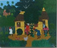 "083 Daniel Alvarez Arias, ""Recojimiento,"" 2010. Oil on canvas 13"" x 17.5"""