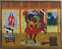 "085 Daniel Alvarez Arias, ""La curandera,"" 1997. Oil on canvas. 9.5"" x 12"""