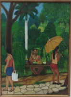 """088 Rolando Alvarado, """"Puesto de viandas,"""" N.D. Oil on canvas. 12.5"""" x 9.5"""""""