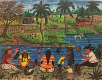 "094 Osvaldo Castillo, ""Mujeres lavando,"" 2010. Acrylic/paper. 19.5""x 25"" #5606"