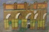 "097 Abel, ""Ruina de vivienda de Magua,"" 1985. Acrylic on poster board. 8.5"" x 13"" #1435"
