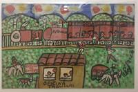 """101 Abel, """"Estación de Ferrocarril (Condado),"""" 1998. Acrylic/cardboard. 9""""x 14.25"""" #1611"""