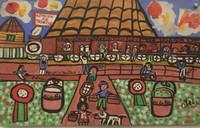 """102 Abel, """"Estación de Trinidad,"""" 1998. Acrylic/cardboard. 9""""x 14.25"""" #1610"""