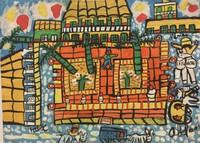 "105 Abel, ""Plaza Mayor,"" 1998. Acrylic/cardboard. 10""x 13.5"" #1608"