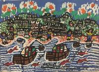 "106 Abel, ""Santiago de Cuba Septima Villa Fundada 1515,"" 1995. Gouache on paper. 11.75""x 16"" #1408"