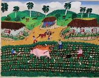 """128  Chuchi (Jesús González), """"Trabajando la tierra,"""" ND. Oil on canvas. 13.5""""x 17"""" 5834"""