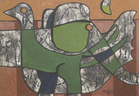 "Mederox (José Mederos Sigler) #1982. ""Elefante y pato,"" 1999. Oil on canvas. 20"" x 29."""
