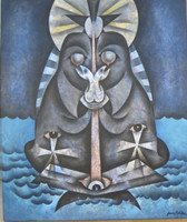 "Juan Moreira  #4560. "" La virgen de la tabla,"" 2006. Oil on canvas. 22.75"" x 29."""