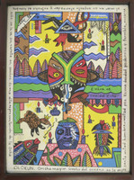 "Vilva (Elio Vilva-Trujillo) #4808BX. ""Olokun,""  2008. Acrylic on canvas. 14.5"" X 10.5."""