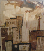 "Sandra Dooley  #4227A (SL) ""S y la ciudad,""  2007. Mixed media/ oil on canvas. 43"" x 37."""