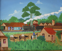 "046 Luis Rodriguez Arias, ""El platanal,"" 2012. Oil on canvas. 8.5""x 10.5"" #5994"