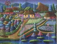 "Magnolia Betancourt #7102. ""Suenos magicos,"" 2015. Acrylic on canvas. 22 x 27.5 inches. SOLD!"