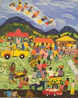 """024 Llopiz, """"7 enanos en el mercado,"""" 2010. Oil on canvas. 31""""x 21.5"""" #5434"""