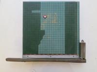 "Carlos Cárdenas (SL) NFS>  ""La guillotina,"" 2015. Mixed media/acrylic on wood paper cutter. 15 x 18.5 inches."