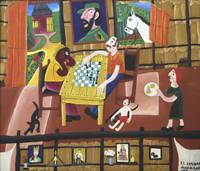 """El Estudiante (Luis Rodriguez Ricardo) #6216 (SL) NFS. """"Juego de ajedores,"""" 1996. oil on canvas. 14.75 x 17 inches."""