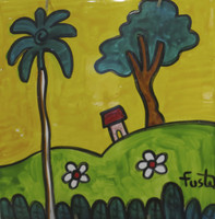 Fuster (José Rodríguez Fuster) #6529.  Untitled, N.D. Hand painted ceramic tile, 8 x 8 Inches. SOLD!
