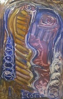 Fuster (José Rodríguez Fuster) #6531.  Untitled, N.D. Hand painted ceramic tile. SOLD!