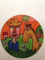 "Fuster (José Rodríguez Fuster) #7023.  Untitled, 2014. Acrylic on a vinyl record. 12"" diameter. SOLD!"