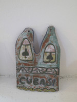 "Fuster (José Rodríguez Fuster) #6549.  ""Cuba si,"" N.D. Glazed clay. 9.5 x 6.5 inches."