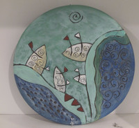 Alejandro Lopez Bastida #6550  Ceramic plate from Trinidad de Cuba. 10 inches diameter.