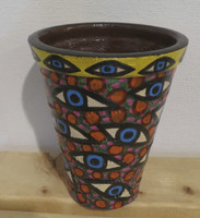Regina Fernandez #6541 (SL)  Hand painted ceramic pot. 6.5 x 5 inches.