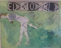 "Carlos Cárdenas #5609 (SL). ""Cocina al minuto,"" 1988. Acrylic on paper, framed. 26 x 31 inches.  NFS"