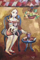 "Sandra Dooley #4507  ""Chocolate,"" 2005. Oil on burlap. 35.5 x 24 inches."