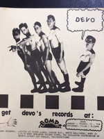 DEVO   - FLIER FOR BOMP STORE- ORIGINAL XEROX -9x12