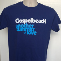 GOSPELBEACH  -ANOTHER SUMMER OF LOVE-  PACIFIC BLUE T SHIRT PLUS BADGE