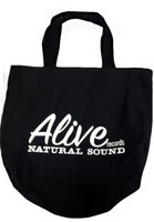 ALIVE RECORD TOTE BAG  - Black with classic ALIVE LOGO in white -  TOTES