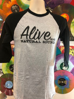 ALIVE LOGO on  GRAY BASEBALL STYLE T SHIRT