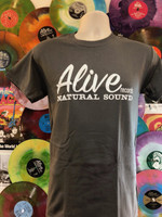 ALIVE LOGO on CHARCOAL SHORT SLEEVED SHIRT