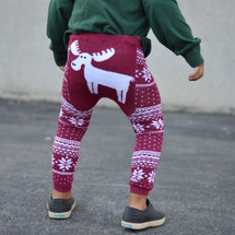 Maroon Winter Moose Leggings