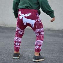 Burgundy Fair Isle Moose Leggings
