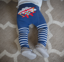 Red Airplane Stripes Cotton Leggings