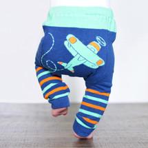 Green Airplane Stripes Cotton Leggings