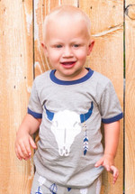 Southwestern Steer Feathers Shirt