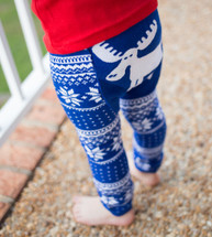 Blue Winter Moose Cotton Leggings