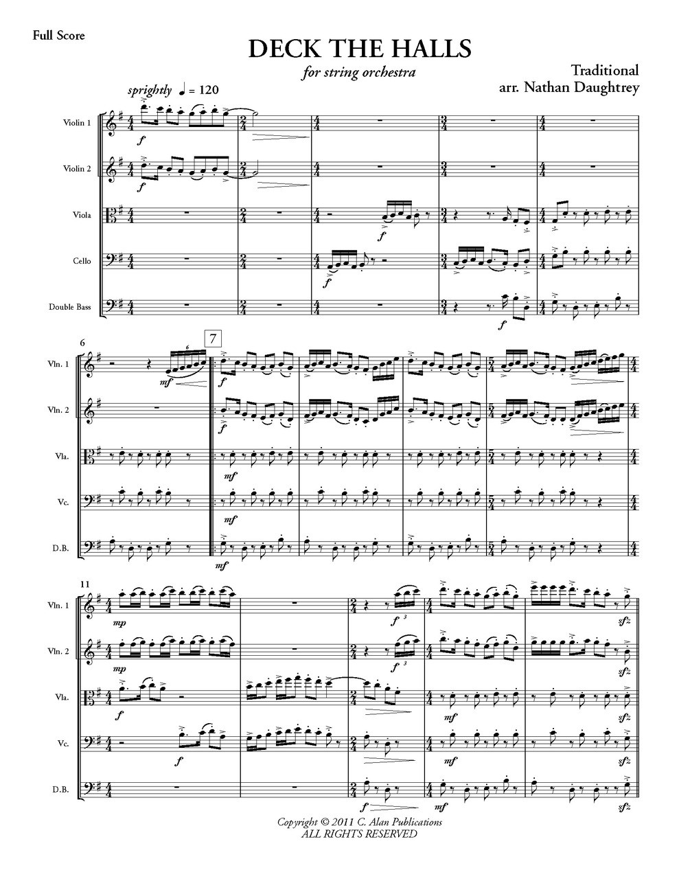 deck the halls string orchestra c alan publications