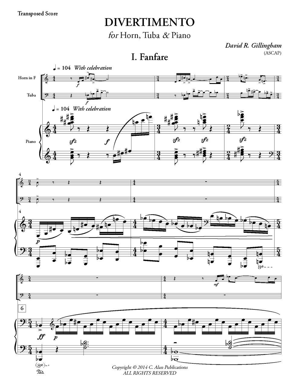 Divertimento for Horn, Tuba & Piano