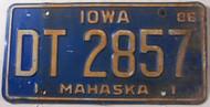 1986 Iowa Mahaska County License Plate DT-2857