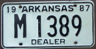 1987 Arkansas License Plate DEALER M 1389