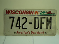 WISCONSIN America's Dairyland License Plate 742 DFM