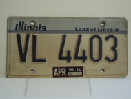 1991 ILLINOIS Land of Lincoln License Plate VL 4403