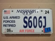 2006-11 Mississippi S606J License Plate