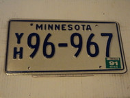 1991 MINNESOTA  10,000 Lakes License Plate YH 96-967