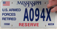 Mississippi RESERVE A094X License Plate