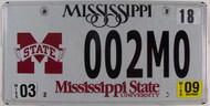 2009 Mar Mississippi State Univ License Plate